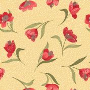 Lewis & Irene - Tulip Fields - 7161 - Mouse and Tulip on Yellow - 460.3 - Cotton Fabric